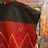 Kachin Vest made from southeast asian textiles by Dancing Ladies in Santa Fe New Mexico