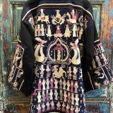 Antique Daoist Priest Robe Jacket made from southwest Chinese textiles by Dancing Ladies in Santa Fe New Mexico